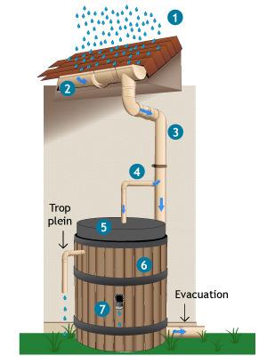 système de récupération d eau de pluie sur gouttière